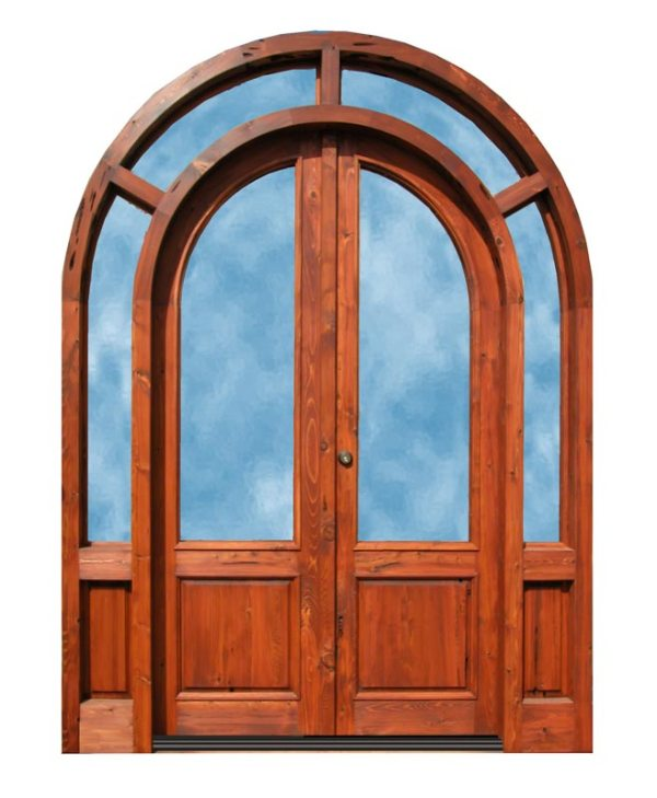 Full Arch Double Wood Doors With Surround