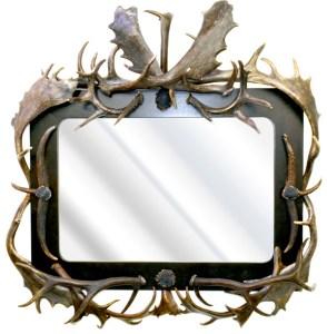 Fallow Deer Custom Antler Mirror, Ebonized Walnut  - EMF976