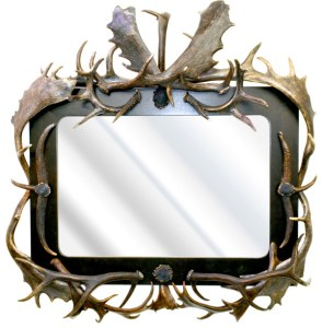 Fallow Deer Custom Antler Mirror, Ebonized Walnut  - EMF976