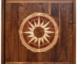 Door - Solid Walnut - Inlaid Nautical Entrance Door -  3246CW