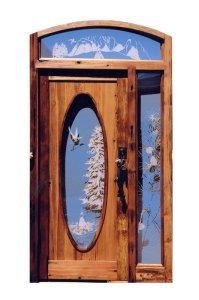 Arched Wood Entry Door With Side Light And Transom  - 7052GP