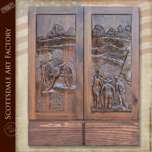Dart Board Cabinet - Hand Carved Civil War Theme  DBC316A