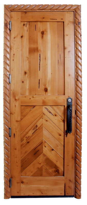 Door - Custom Wood Herringbone Design - SWD738
