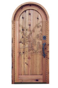 Arch Top Custom Door With Hand Carved Wilderness Scene - 3005AT
