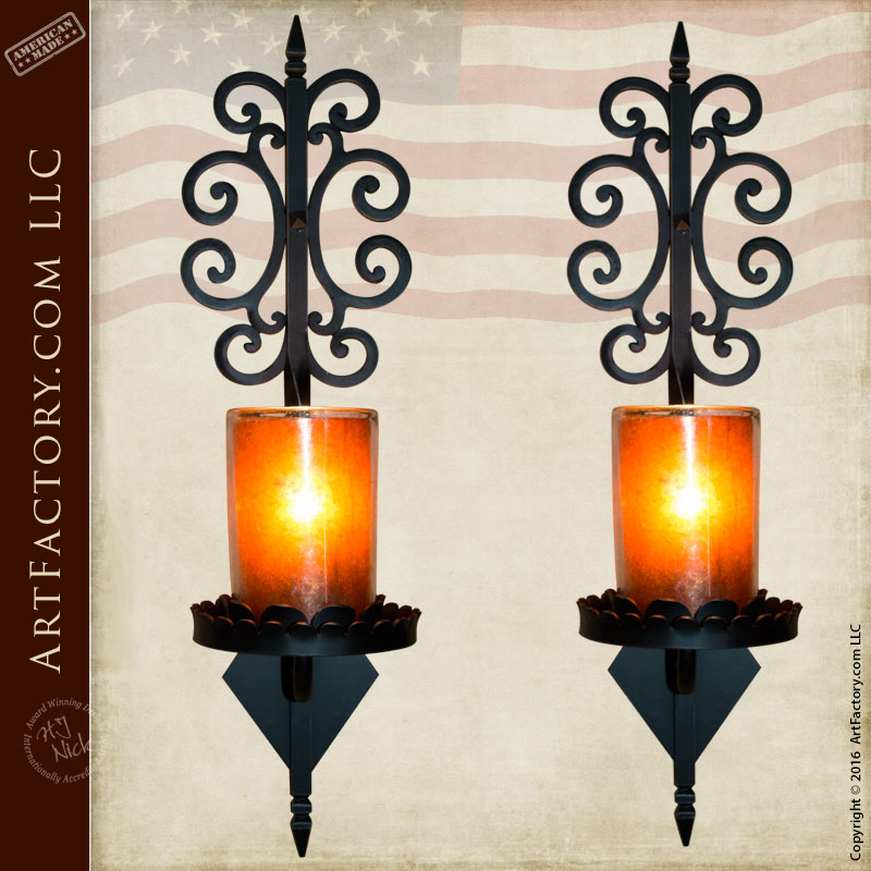 Tuscan Wrought Iron Wall Sconce   WS654