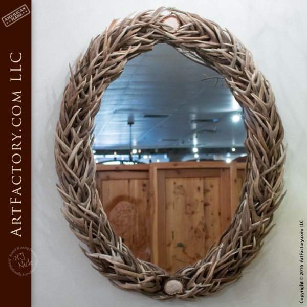 Oval Wall Mirror with Natural Antlers - NAM543