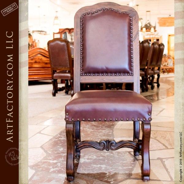 Regal 16th Cen Custom Dining Furniture, Leather Chairs - RA540CC