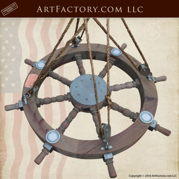 Ship Wheel Chandelier, LED, Custom Ceiling Lighting - SWC9876