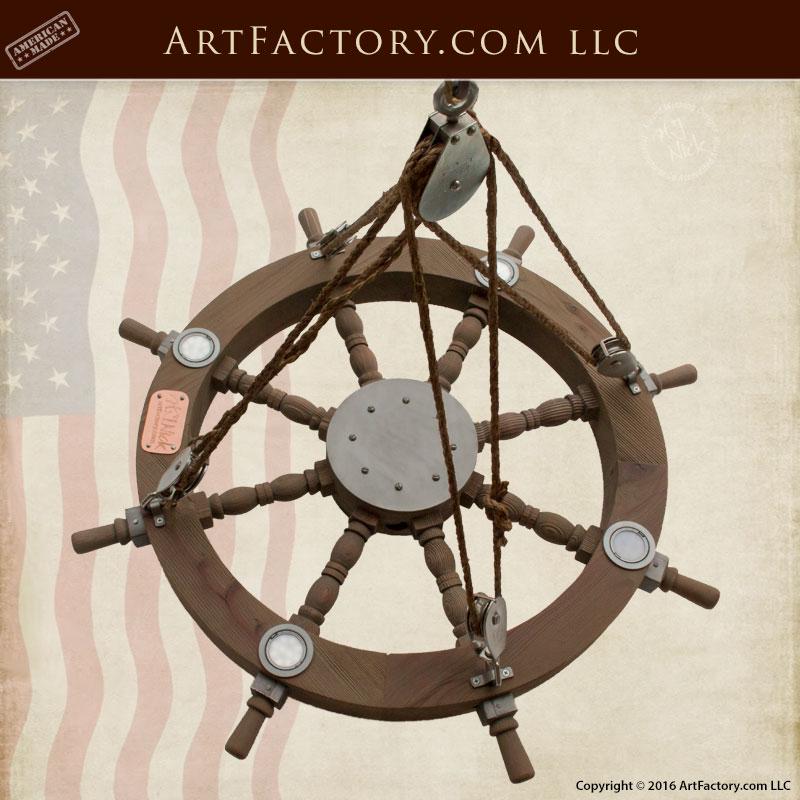 Ship Wheel Chandelier, LED, Custom Ceiling Lighting - SWC9876