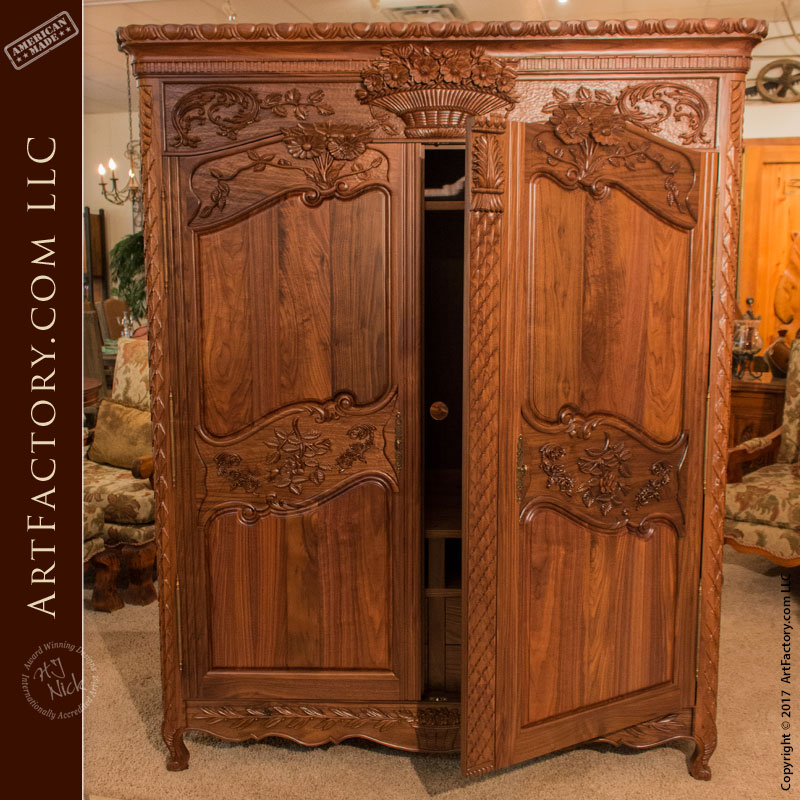 Hand Carved Bed: Hand Carved Walnut Armoire: Matches Hand Carved Walnut Bed