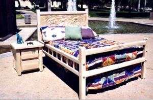 Old Western Style Bed - Hand Carved - CBBS646