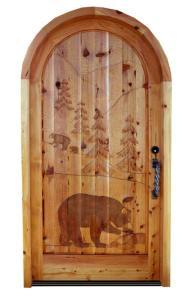 Custom Hand Carved Door Forrest And Bear Theme - 7014HC