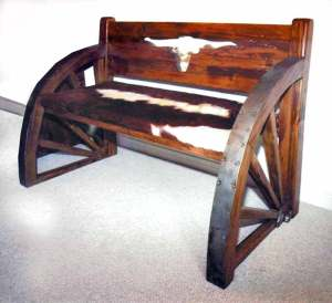 Bench - Western Wagon Wheel Bench - CBB642
