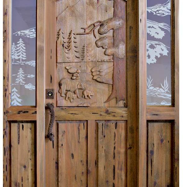 Custom Door - Carved Bears Scene with Etched Sidelights- 4004HC
