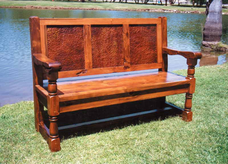 Bench - Solid Wood Copper Back Bench - SPB412
