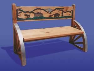 Bench - Solid Wood Western Wagon Wheel Bench - TSB917