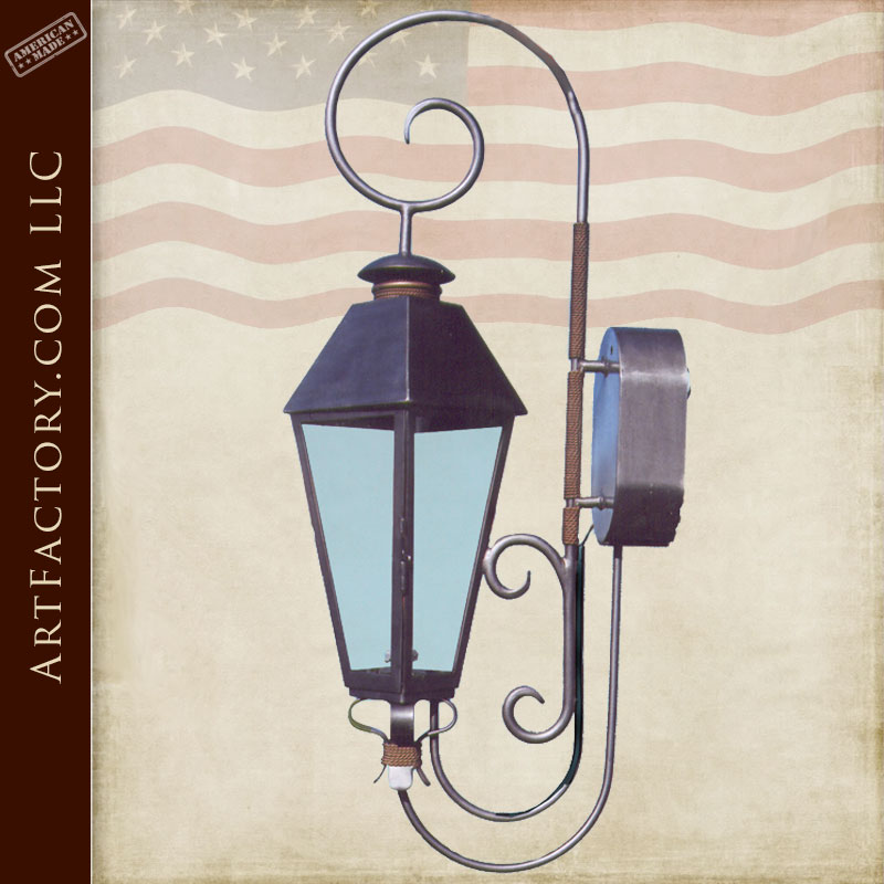 Gas Lamp Lantern Hand Forged Solid Wrought Iron - LS112A