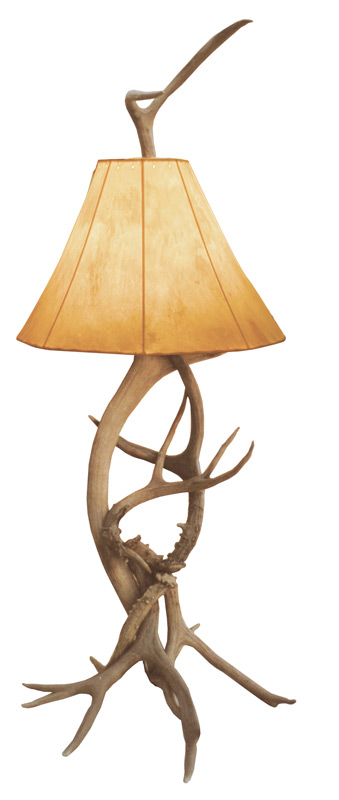 Antler Table Lamp with Rawhide Shade - White Tail Deer - LT626