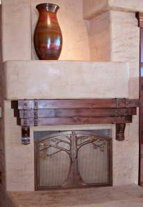 Solid Wood And Iron Fireplace Mantel and Fire Grilll - MLFM561