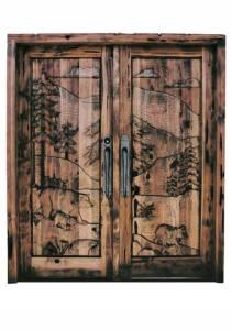 Double Doors - Hand Carved Bear Wilderness Design - 6021HC1