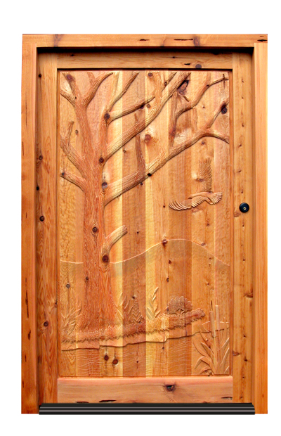 Hand Carved Door - Hawk In Autumn Wood Design - 4820HC
