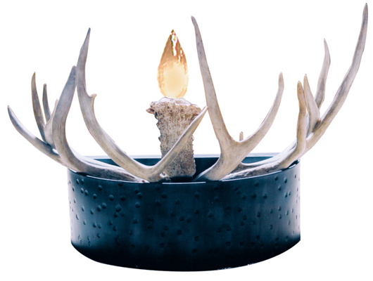 Plow Wheel & Mule Deer Antler Wall Sconce Lighting - LS248
