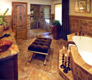 Bathroom - Elegant Luxury Exotic Wood & Granite - BATH1800