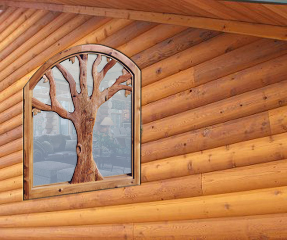 Hand Carved Tree Window - WIN1621
