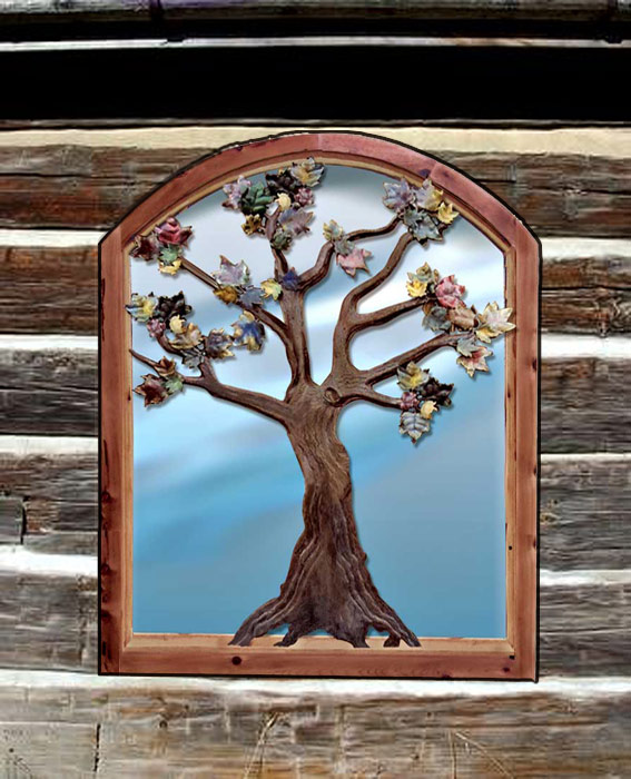 Custom Window - Autumn Trees Hand Forged  - WIN1631
