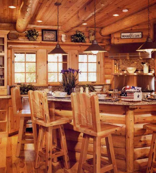 Custom Log Cabin Kitchen - KIT3000