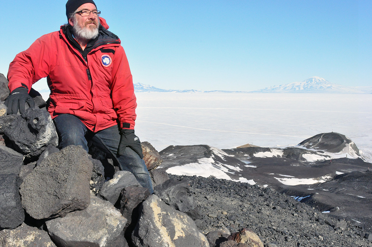 Glenn in Antarctica - Ice Field with Glenn in foreground
