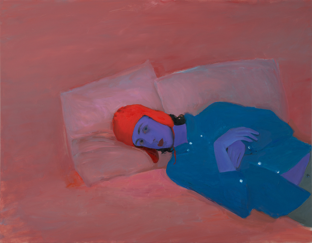 """Xinyi Cheng, Stijn in the Red Bonnet, 2020, oil on canvas, 45 x 57""""."""