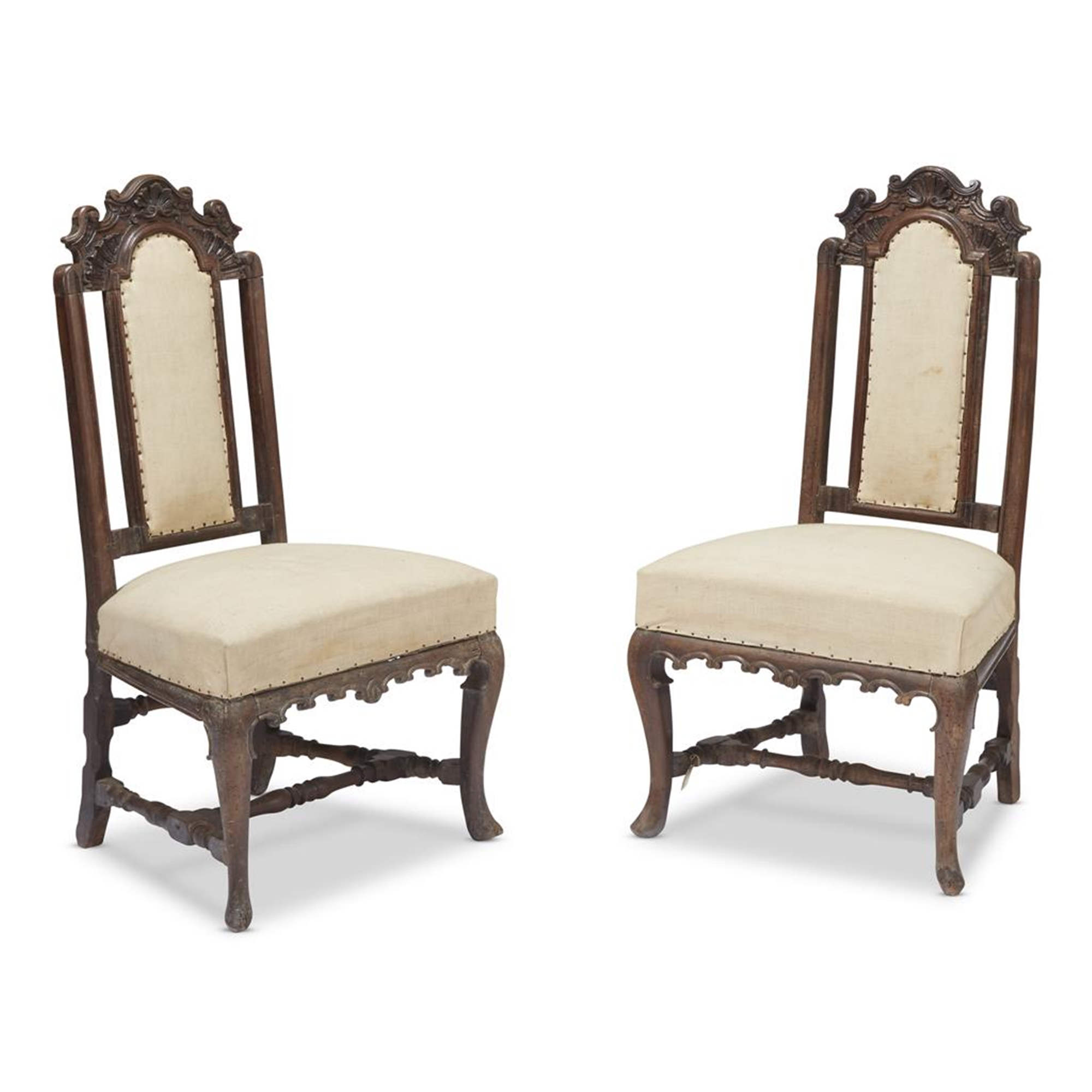 A Pair Of Spanish Carved Walnut Slipper Chairs Deal Price