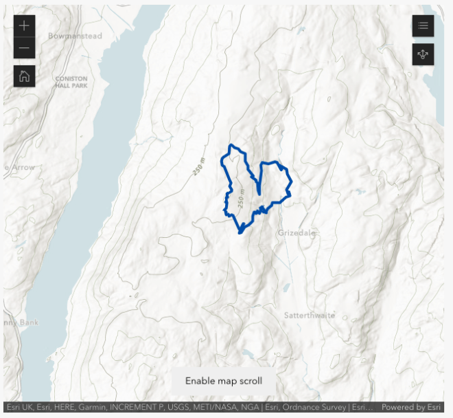 cumbria map showing track of walk around grizedale