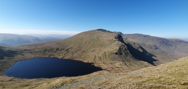 Grisedale Tarn with fells in distance.