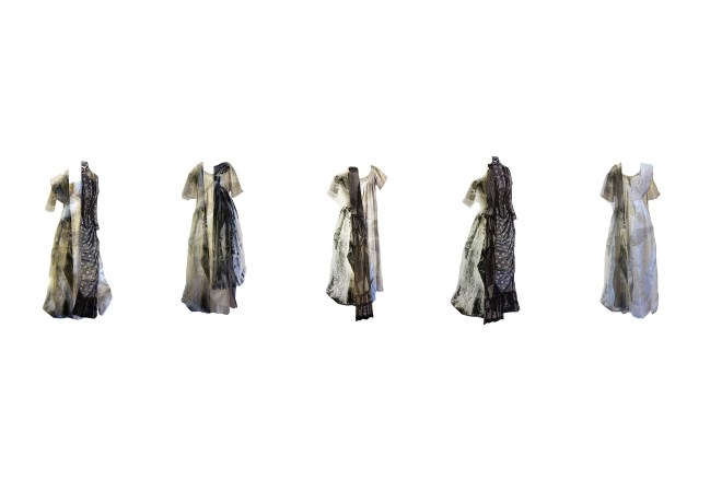 textile art with 5 dresses with several different fabrics.