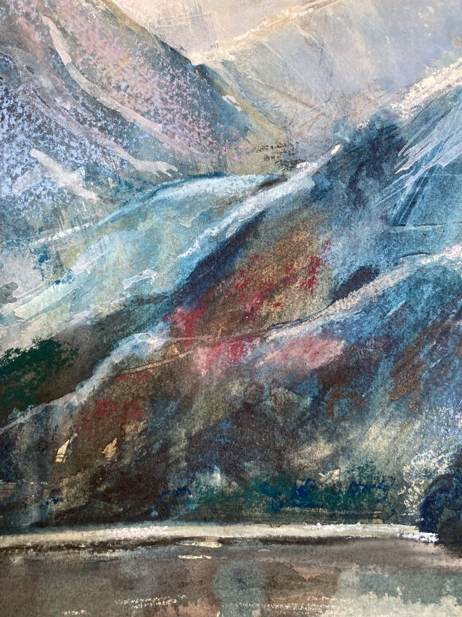 Alex Jacob Whitworth image of hills, made using pastels, with blues, whites and red tinges