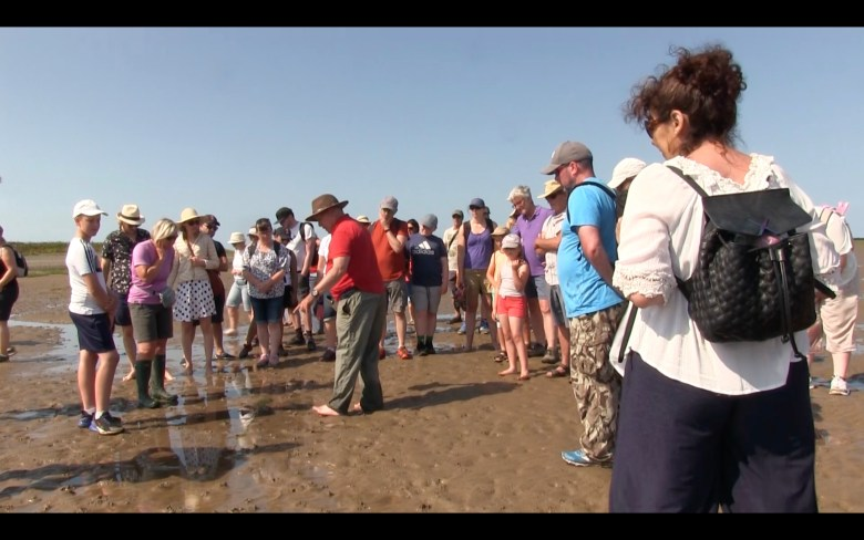 a group of people walking across wet sands, most people are in hats. A man in a red shirt is pointing to the ground and talking: he is the Sands Guide. Image taken from a film of people walking from the Furness Peninsula to Piel Island.