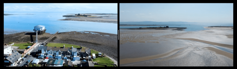 Two images placed side by side, in a still from a dual-projector film created by Rachel Capovila. The screen on the left shows Barrow peninsula where the land meets the sea; the screen on the right shows an expanse of wet sand, with Piel Island and the sea beyond.
