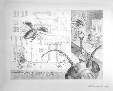"""Pied Piper 1, """"The Infestation"""". Graphite, 2013"""