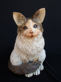 """Sitting Cats with glass eyes small: approx. 9.5""""H x 6""""W x 9""""D medium: approx. 12""""H x 6""""W x 9""""D large: approx. 12""""H x 8""""W x 11""""D"""