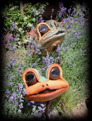 "Frog Heads on Stakes - metal poles available in 14"", 18"", 22"" lengths - approx. 6""H x 7""W x 5""D"