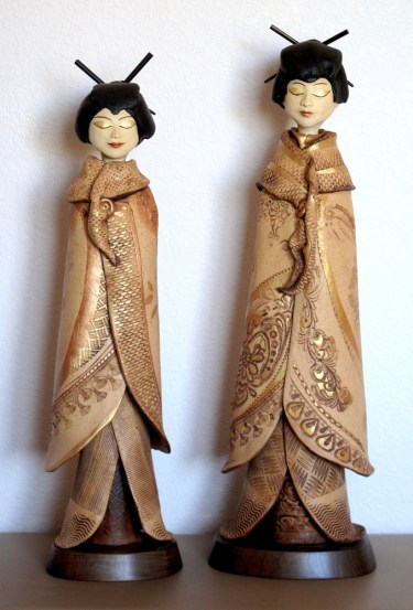 """Japanese Ladies left approx. 25""""H x 7.5""""W x 7""""D right approx. 27""""H x 8""""W x 7""""D"""