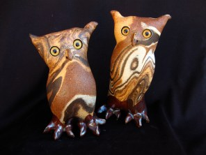 "Mixed Clay Owls Table-sized - approx. 4.5""-7""T"