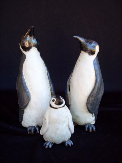 "Penguins Table-sized Dad, Large - approx. 11.5""H x 5""W x 5.5""DMama, Medium - approx. 9.5""H x 4""W x 5""D Baby small - approx. 5"" x 3.5"" x 3.5"""