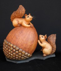 "Two Squirrel with Huge Acorn - approx. 17""H x 17""W x 10""L"