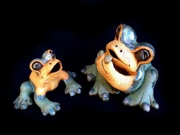 "Small Table Frogs - approx. 8""H x 10'W x 10""D and 5""H x 5""W x 5.5""D"