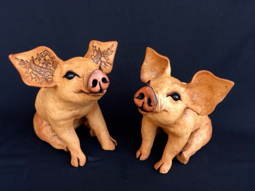 """Sitting table-top Pigs - approx. 7.5-8.5""""H x 9""""L"""