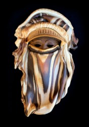 "Veiled Mask with Mixed Clays - approx. 21""H x 13""W x 5""D"