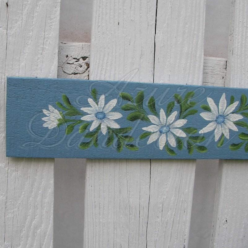 Original Door Topper Farmhouse Chic Blue Daisy Painting